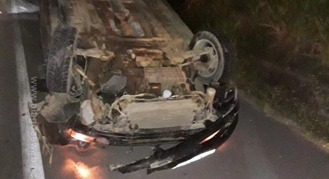 O outro condutor que participava do 'pega' se evadiu do local após o acidente, sem prestar socorro (Crédito: Reprodução/WhatsApp)