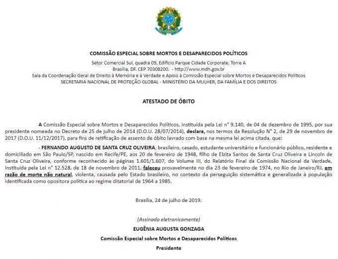 Atestado de óbito Fernando Santa Cruz emitido pelo governo Bolsonaro — © Arquivo Nacional