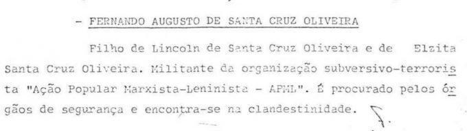 Nota do Ministério da Justiça sobre desaparecimento de Fernando Santa Cruz  — © Arquivo Nacional