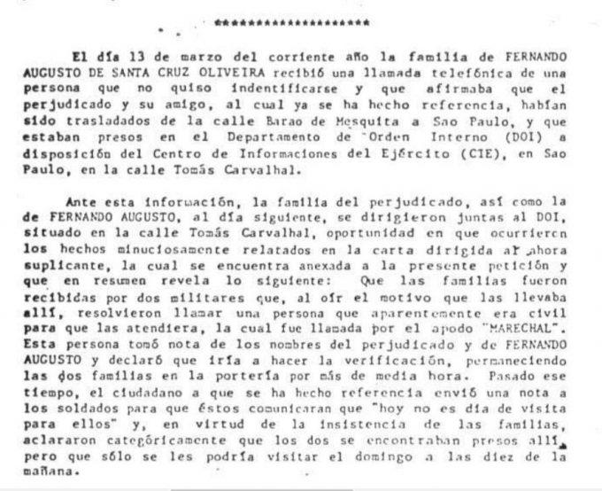 Trecho do relatório da Comissão Interamericana de Direitos Humanos sobre desaparecimento de Fernando Santa Cruz — © Arquivo Nacional