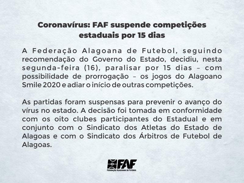 Comunicado da Federação Alagoana de Futebol — © FAF