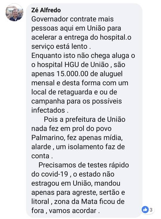 Comentário de Zé Alfredo nas redes sociais