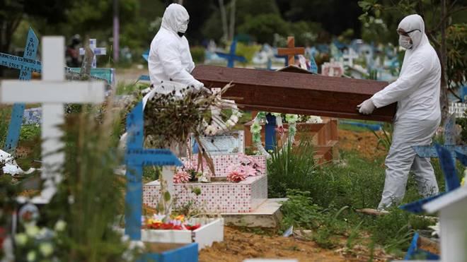 Imagem de sepultamento de paciente vítima de Covid-19 - @reprodução