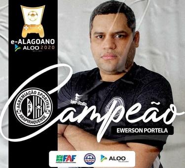 Campeão do e-Alagoano Ewerton Portela — © FAF
