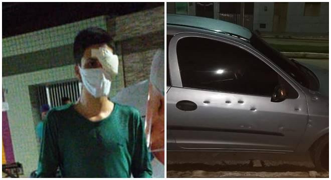 Motorista ferido e carro crivado de balas