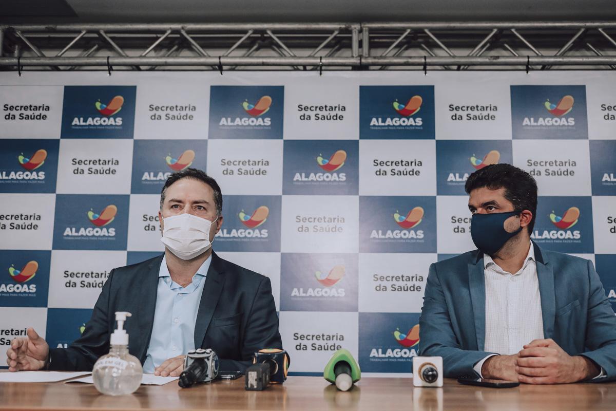 Governador Renan Filho e prefeito de Maceió, durante coletiva - Divulgação