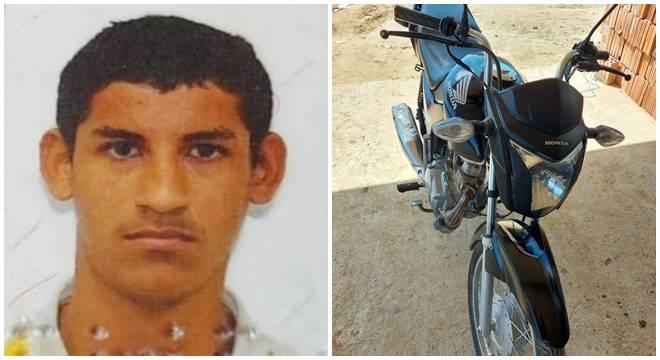 Jovem morto no acidente e sua motocicleta — © Reprodução