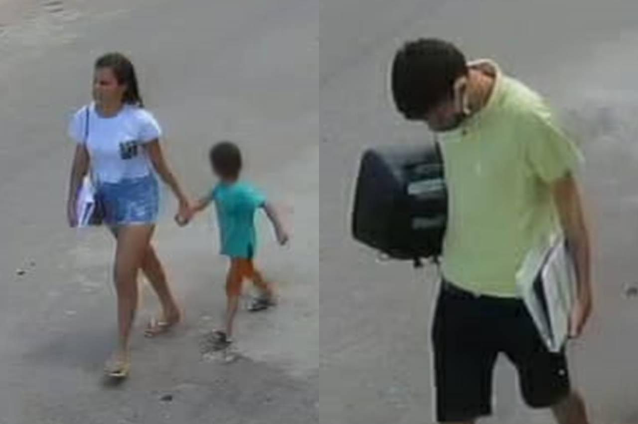 Câmera flagra casal furtando Pestalozzi de União acompanhado de criança — © Reprodução/Vídeo