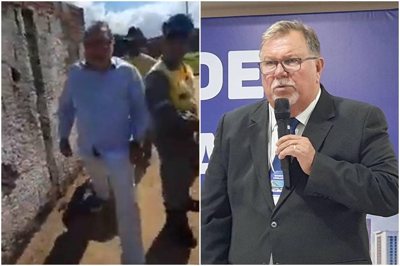 Vereador é flagrado agredindo trabalhadores em Murici — © Reprodução/Instagram