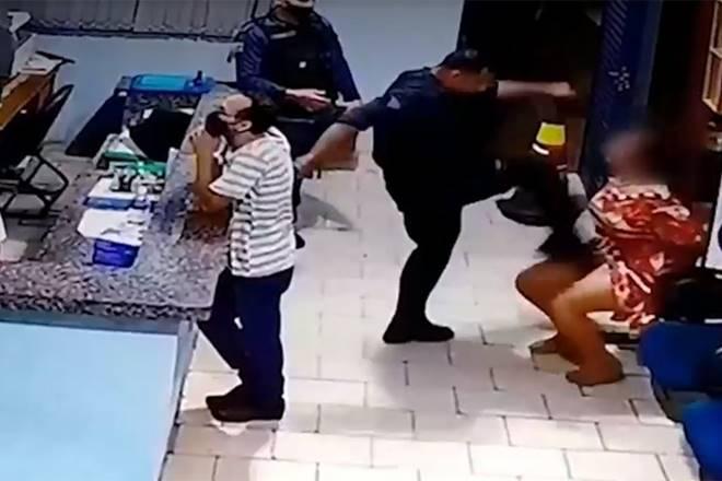 Empresária foi agredida com socos e tapas pelo tenente da PM — © Reprodução