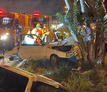 Carro colidiu em árvore em Rio Largo — © Reprodução