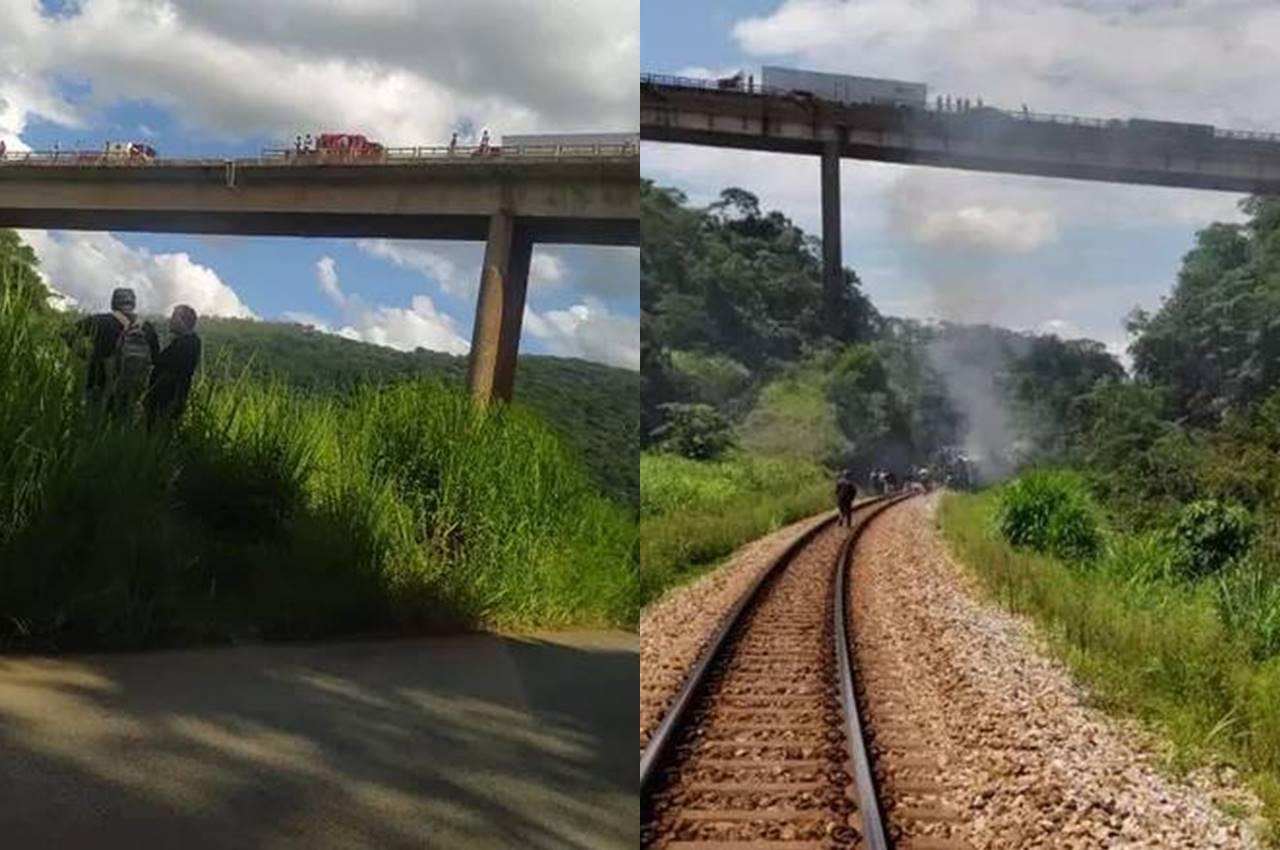 À esquerda, foto do acidente de agora, com duas vítimas. À direita, foto do acidente com ônibus — © Redes sociais