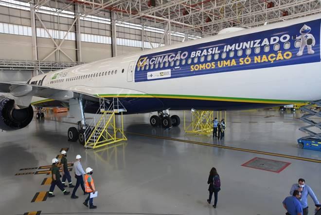 Avião que vai para Índia buscar vacina contra Covid-19 — © Tony Winston/MS
