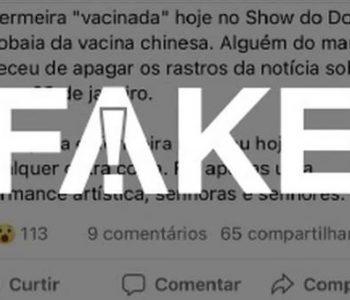 Informações de que enfermeira já havia sido imunizada é #Fake — © Reprodução
