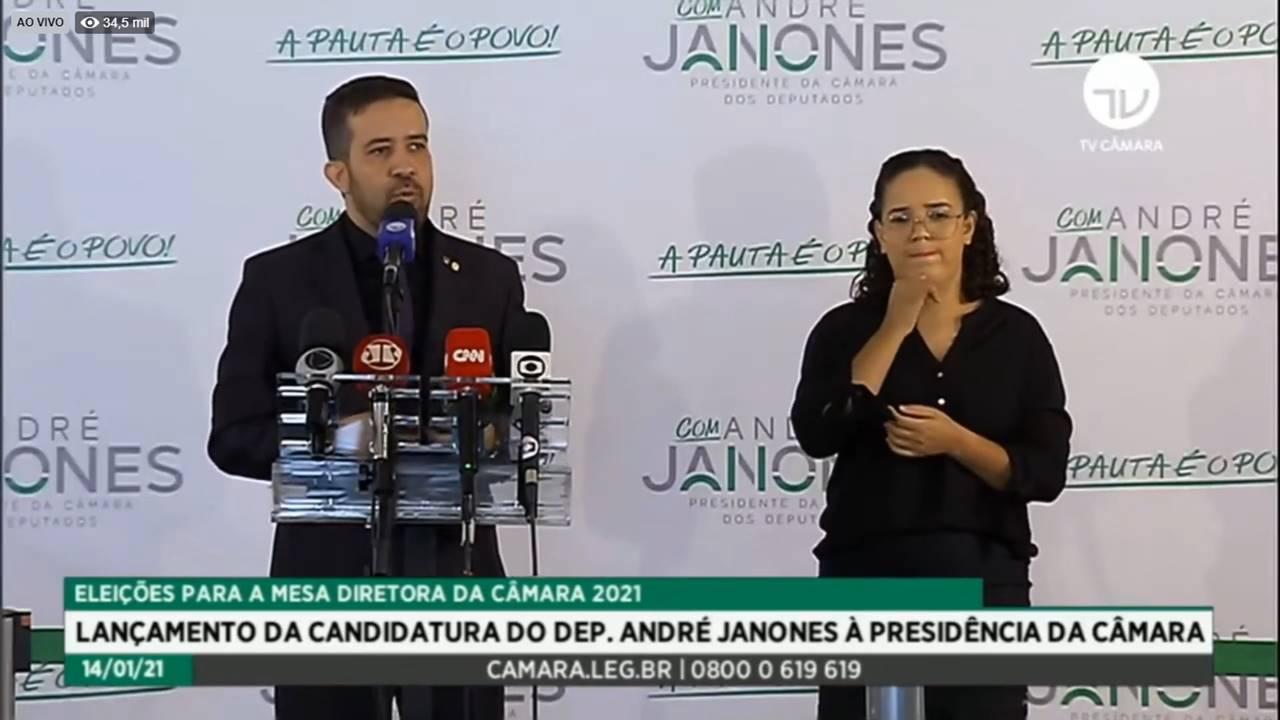 Lançamento da candidatura de André Janones à presidência da Câmara — © Reprodução