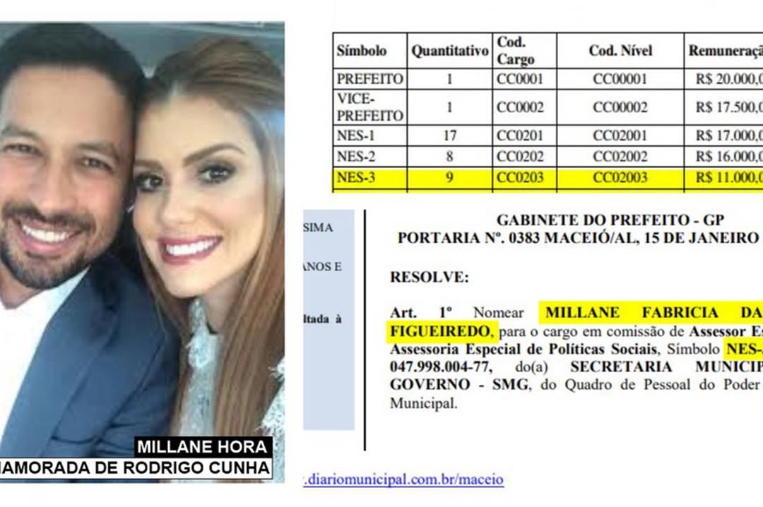 Millane é namorada de Cunha e foi nomeada secretária com salário de R$ 11 mil — © Reprodução