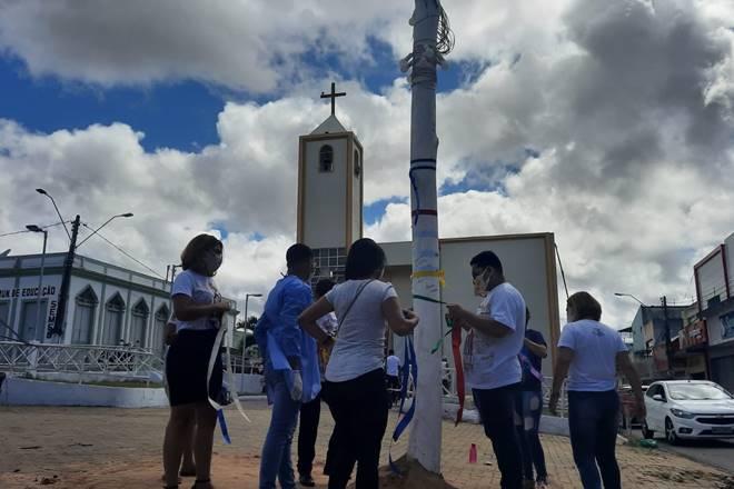 Procissão do Mastro ocorreu de forma simbólica — © Rayanne Rodrigues/BR104