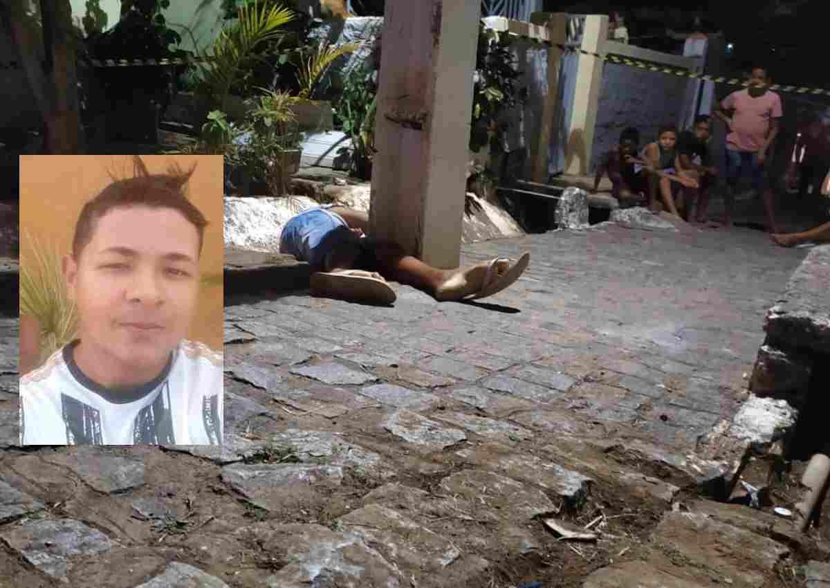 Jovem foi atingido com vários tiros e morreu no local — © BR104