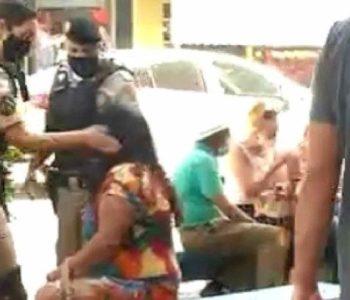 Mulher leva tapa de policial militar em Formigas — © Reprodução