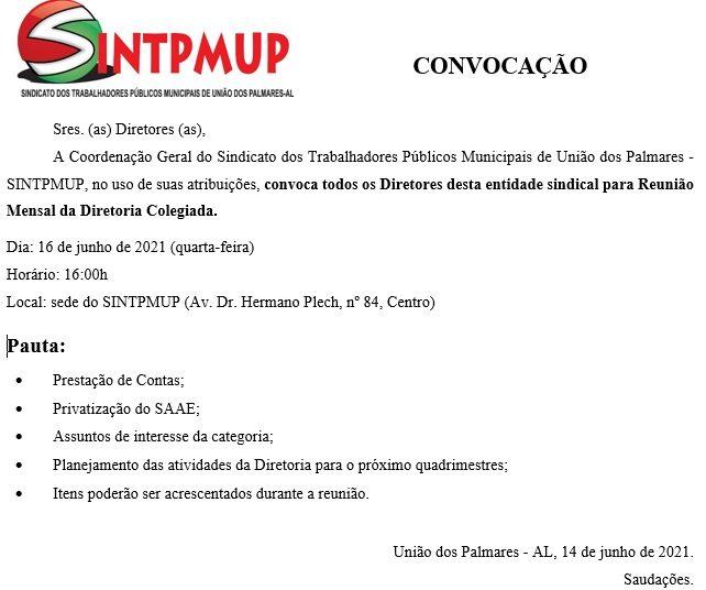 Comunicado do SINTPMUP –© Reprodução
