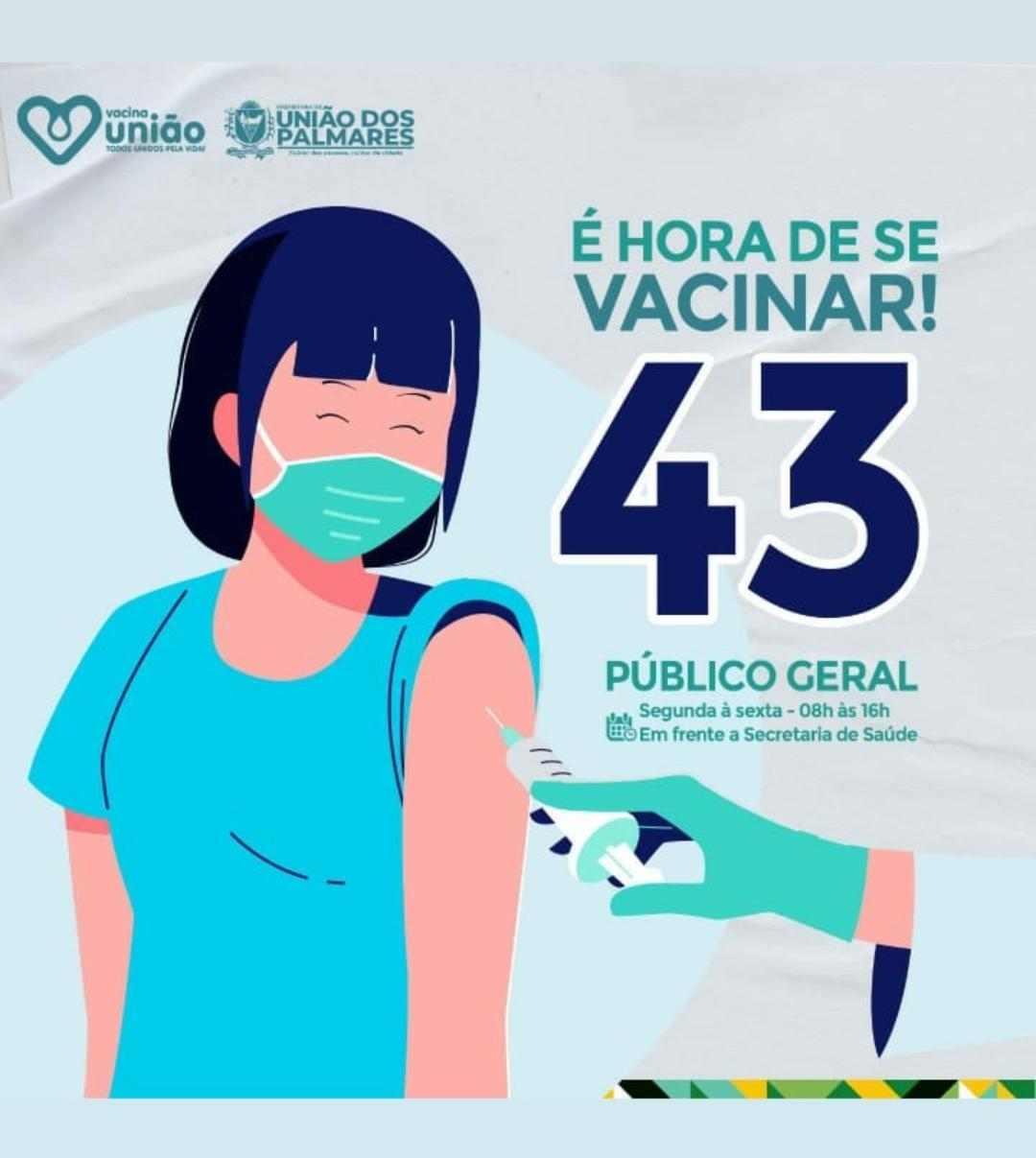 Cartaz da vacina contra a Covid-19 em União dos Palmares –© Reprodução