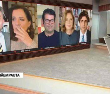 Print do vídeo onde jornalista aparece fumando durante transmissão –© Twitter