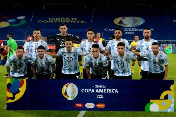 Jogadores da Argentina antes do jogo
